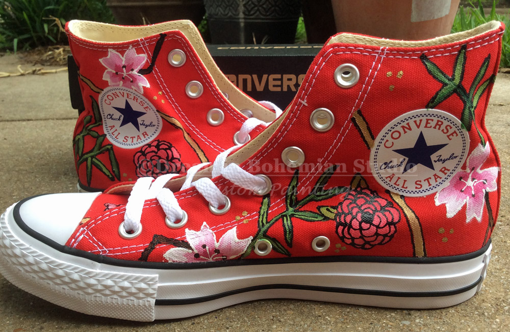 Painted Red Hi Tops in Asian Theme with stork and peonies