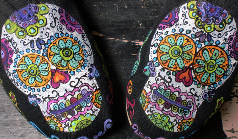 Day of the Dead Sugar Skulls painted on black TOMS