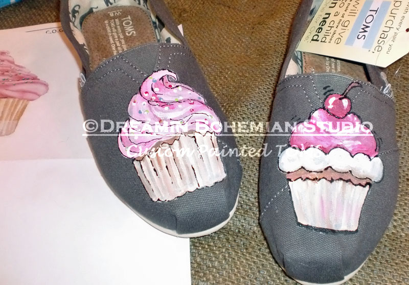 Gray Toms with Pink cupcakes painted on them