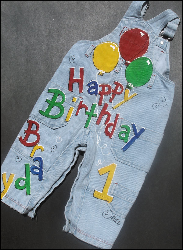 Custom painted birthday boy overalls back