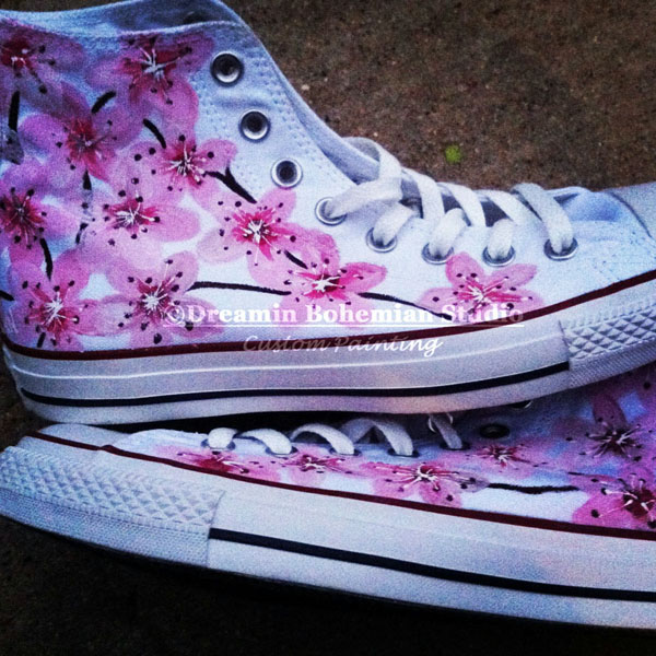 Custom Painted CHUCKS Pink Japanese Cherry Blossoms 1c027d212