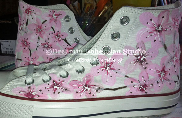 Custom painted Cherry Blossoms converse
