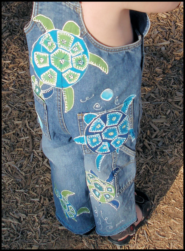 Sea Turtles painted overalls for boys back