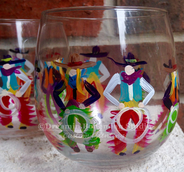 Hand painted stemless red wine western glass