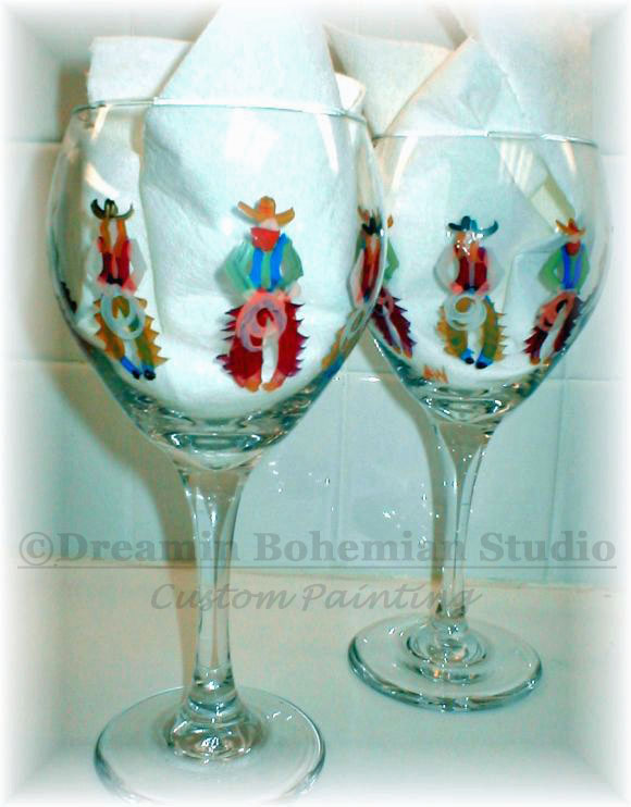 hand painted cowboys on wine glasses