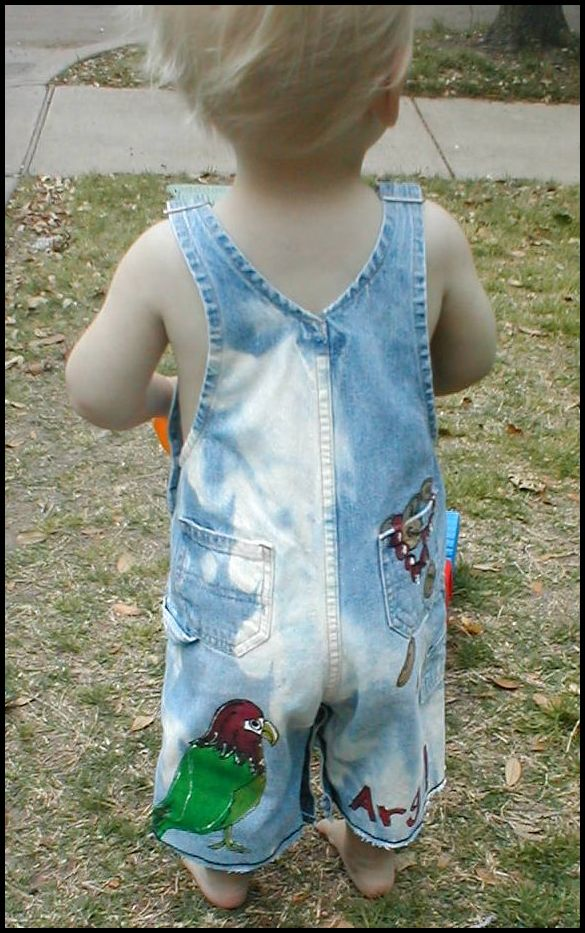 Custom painted Pirate Portrait overalls for boys back