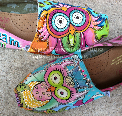 Custom Painted TOMS Owls Dream in Color-TOMS, custom, painted, custom painted toms, custom painted shoes, owls, custom owls, colorful painted owls, colorful painted toms, bling, crystals and painted toms, casual fun shoes, personalized, cheetah print painted on toms,