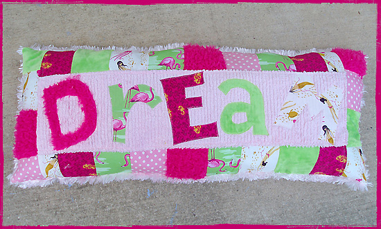 "Custom Name PILLOW ""Dream""-custom, personalized, personalize, applique, pillow, home decor, childrens decor, gift, chenille, cotton, silky fleece, vintage fabrics, floral, western, designer quilt fabrics"