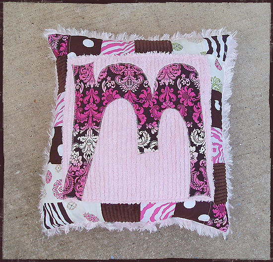 "Custom Name PILLOW ""Monogram""-custom, personalized, personalize, applique, pillow, home decor, childrens decor, gift, chenille, cotton, silky fleece, vintage fabrics, floral, western, designer quilt fabrics, initial, letter"