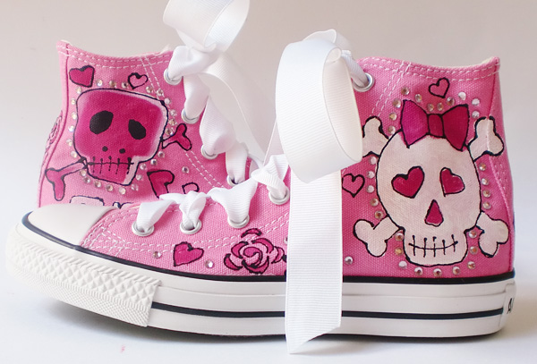 7f012d79da67 Hand Painted Pink Skulls and Bling for Girls and Women chuck taylors ...