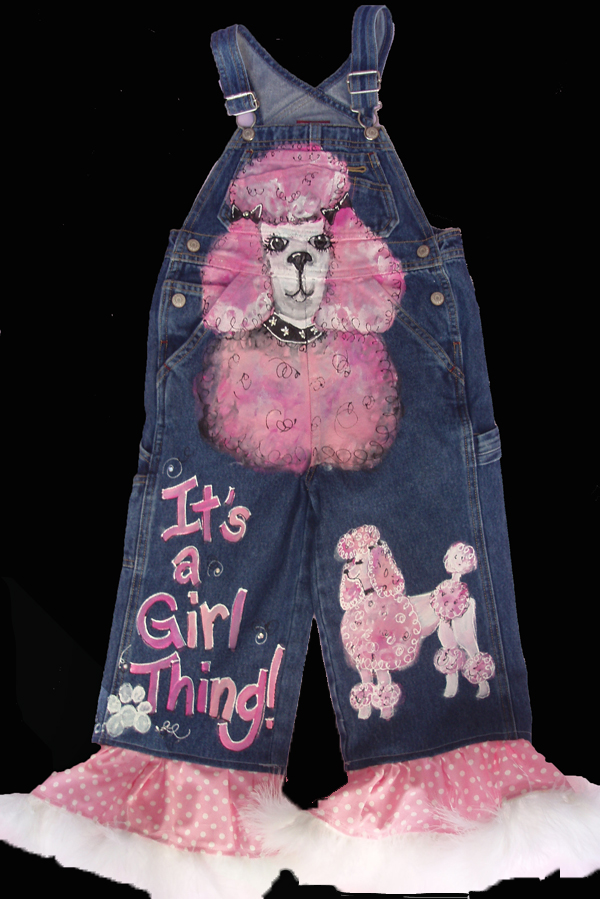 Hand Painted Pink Poodle Overalls-Hand Painted Pink Poodle overalls, oalls, toddler overalls, painted clothing for kids, painted childrens clothing, pageant clothing for toddlers, toddler pink poodle overalls
