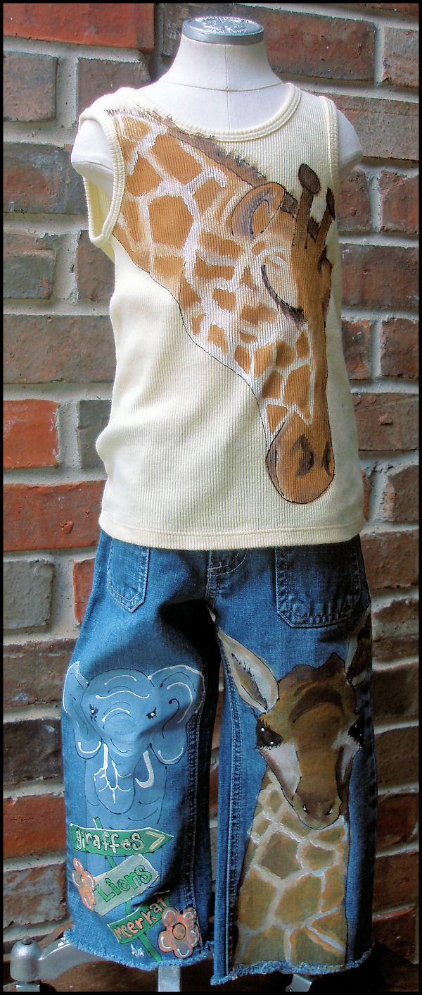 Hand Painted Momma And Baby Giraffe Childrens Outfit