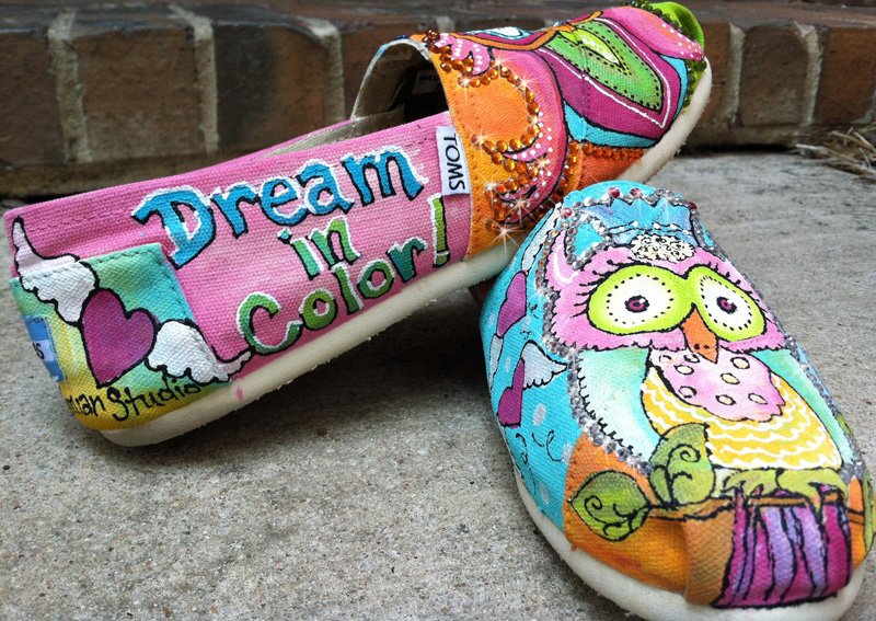 custom painted toms with owls and lots of dreamy color