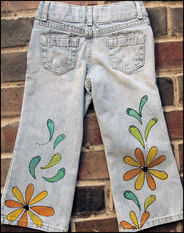 Calaveras Painted jeans back