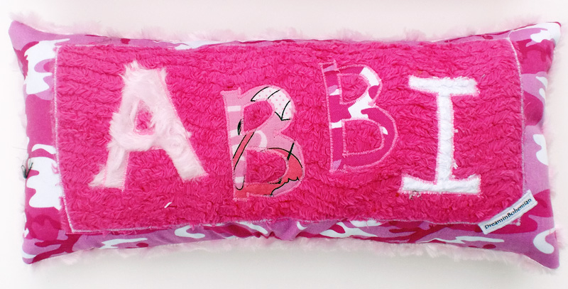 Personalized petite pink pillow
