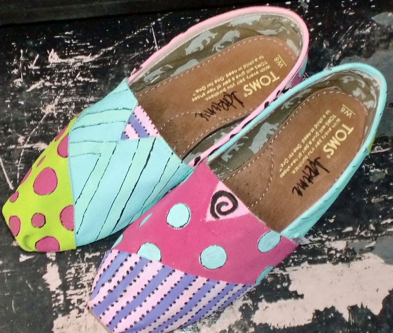 Fun colors dots and stripes custom painted toms