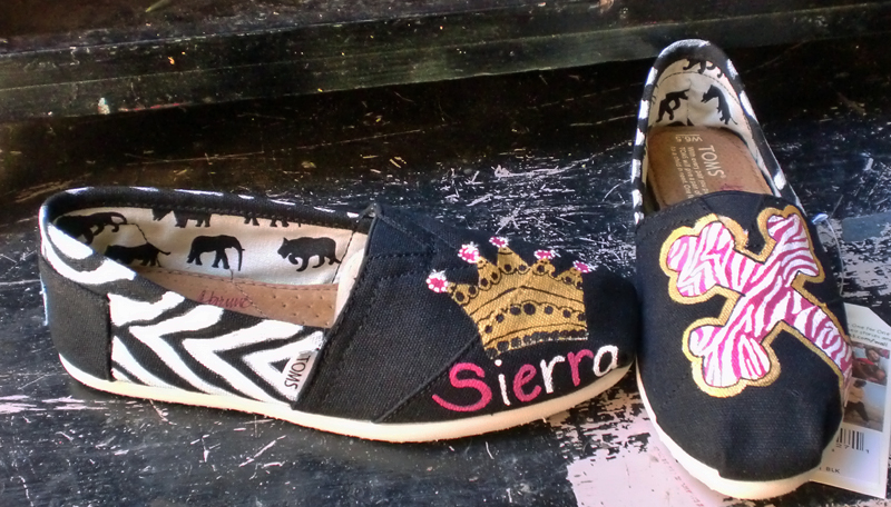 animal prints crown and cross painted toms with scripture around the shoe