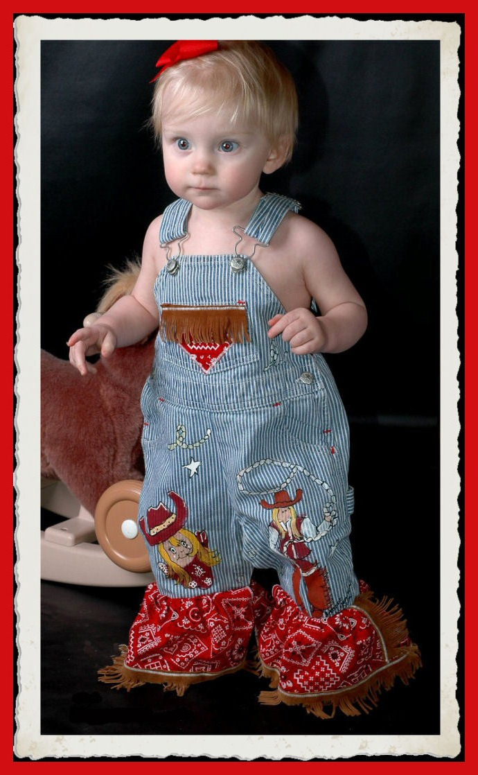 Custom Painted Classic Cowgirl Overalls