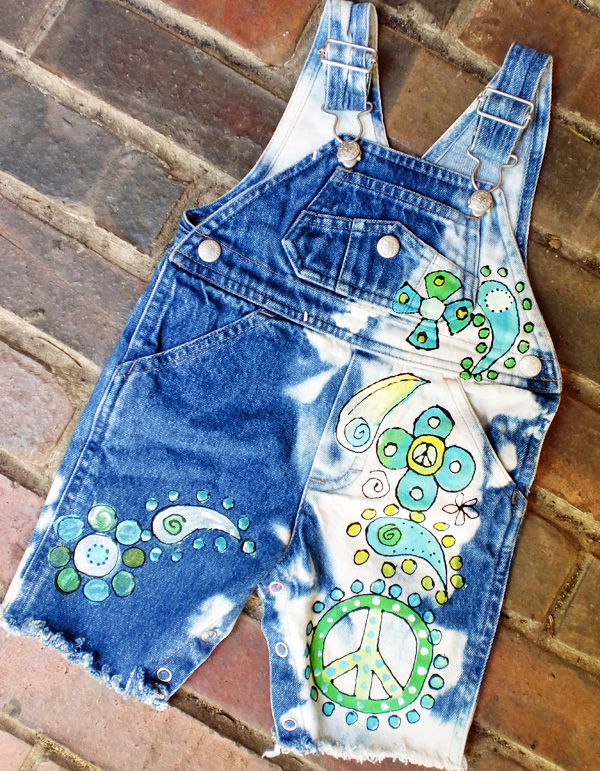Custom Painted Peace and Paisley Overalls