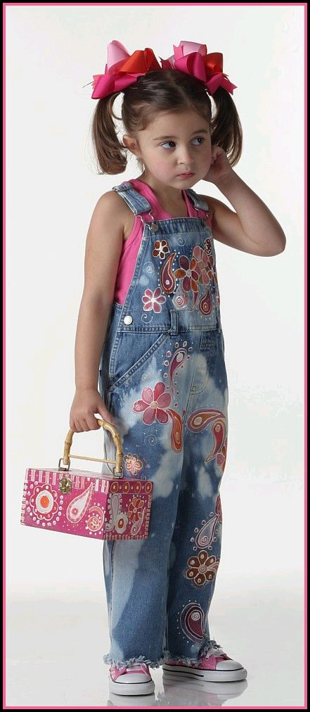 Custom Painted Funky Floral Overalls