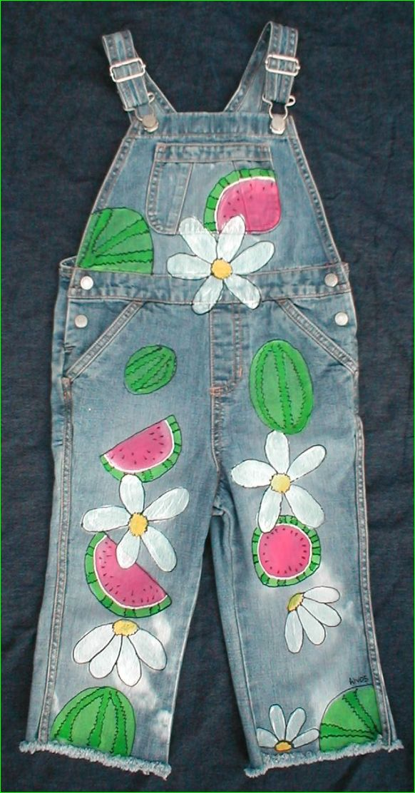 Custom Hand Painted Watermelon and Daisy overalls for girls