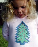 Painted Appliqued Christmas Tree Tee in pink and green