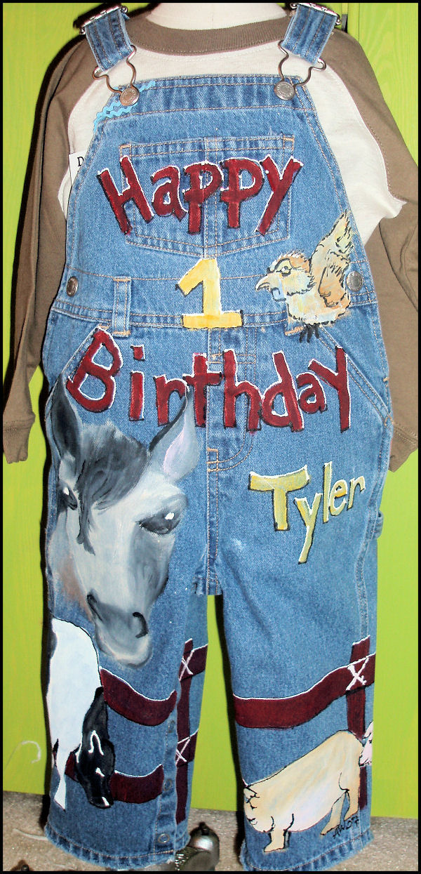 Custom Painted Overalls for Boys--Barnyard-custom painted clothing, custom painted denim overalls, farm animals, boutique boy, boys boutique clothing, boys toddler clothing, painted personalized overalls, birthday, cow, horse, pig, sheep, barnyard