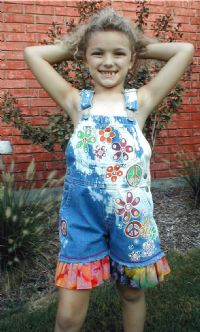 Hand painted Peace Daisies Overalls-custom hand painted peace signs on overalls, daisies, painted flowers and daisy overalls, hand painted overalls with batik ruffle, peace and love painted overalls