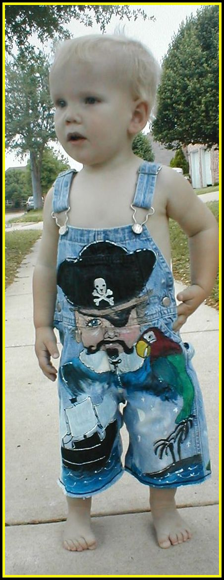Custom Painted Overalls for Boys--Pirate Portrait-custom painted clothing, custom painted denim overalls, prince, boutique boy, boys boutique clothing, boys toddler clothing, painted personalized overalls
