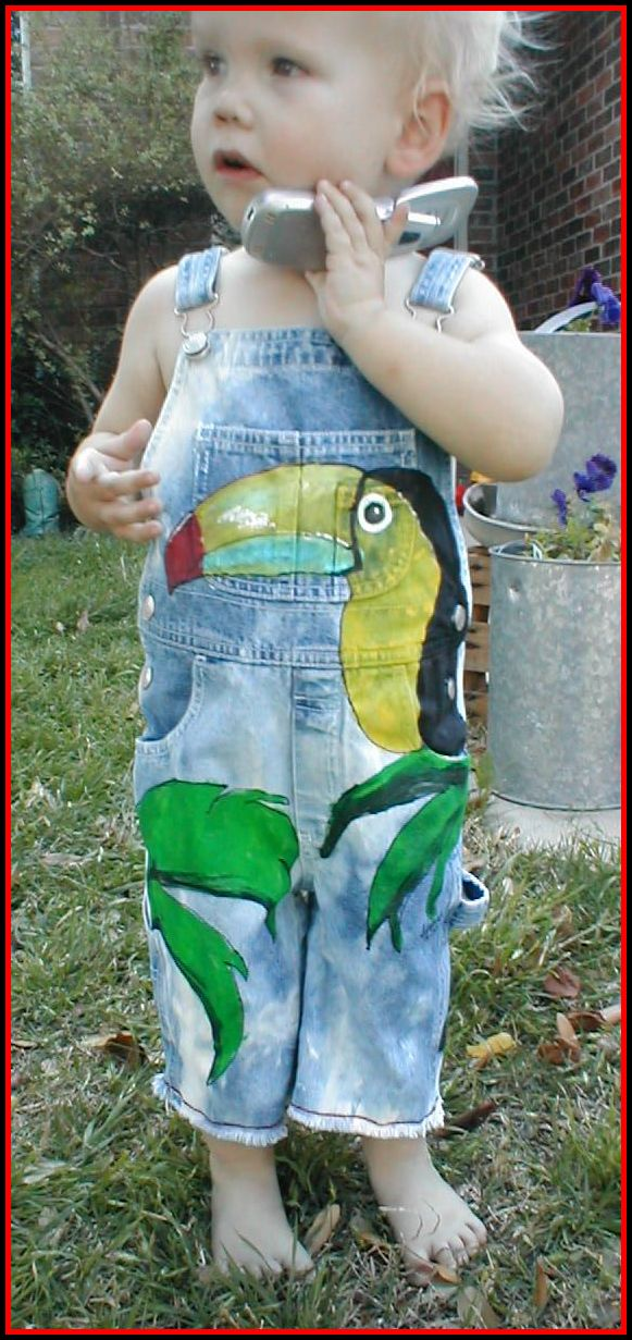 Custom Painted Overalls for Boys--Summer Toucan!-custom painted clothing, custom painted denim overalls, toucan, boutique boy, boys boutique clothing, boys toddler clothing, painted personalized overalls