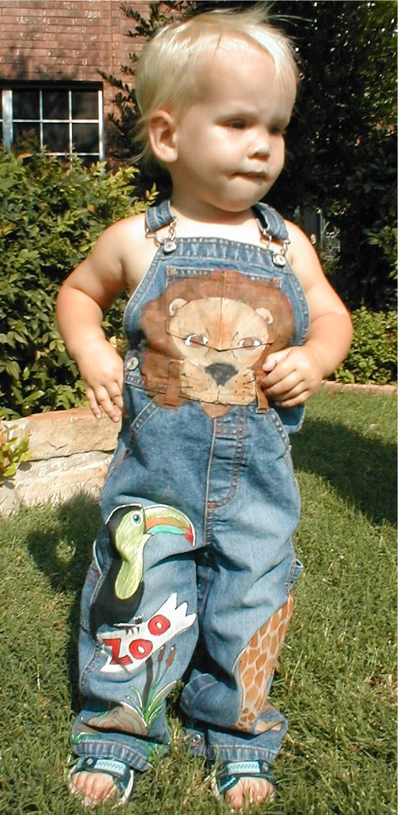 Custom Painted Overalls for Boys--Zoo!!-custom painted clothing, custom painted denim overalls, zoo animals, boutique boy, boys boutique clothing, boys toddler clothing, painted personalized overalls