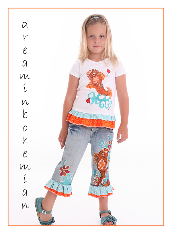 Hand Painted Girls Tattoo Koi Art Outfit-hand painted childrens girls custom boutique set outfit, koi, fish tattoo art