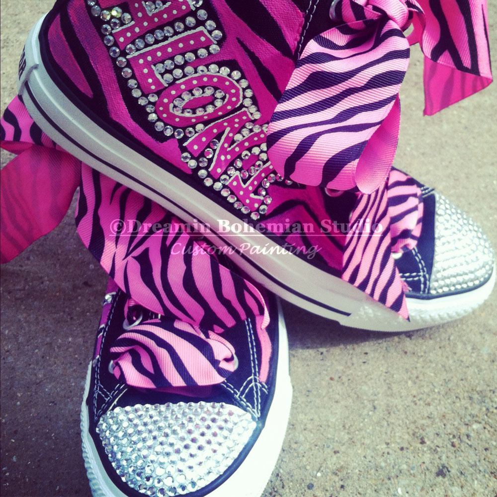 Custom Painted CHUCKS Hot Pink and Black Diva hi Tops for Kids