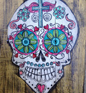Colorful Bright Color Sugar Skull on Gold Background